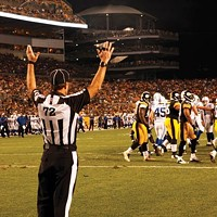 A replacement referee in action during the Steelers' preseason game against Indianapolis
