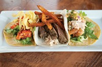 """A selection of tacos: barbequed shrimp, """"Pittsburgh taco"""" and beer-battered cod"""