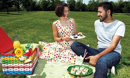 A view for two: Elaina Vitale and Haris Hussain share a picnic at the Overlook at Schenley Park. - HEATHER MULL