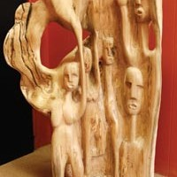 A wood sculpture by Amir Rashidd.