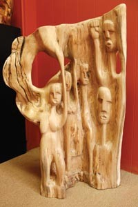 A wood sculpture by Amir Rashidd. - HEATHER MULL