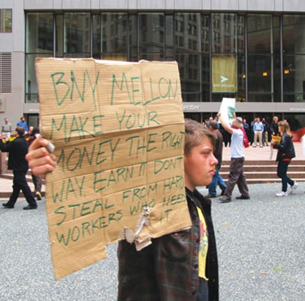 About 100 occupiers turned out for an Oct. 19 protest outside BNY Mellon, Occupy Pittsburgh's largest rally to date. - PHOTO BY CHRIS YOUNG