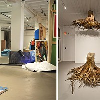 "Adam Welch's installation <i>Terminal Moraine</i> and Janine Antoni's ""Graft"" (detail: first floor view)"