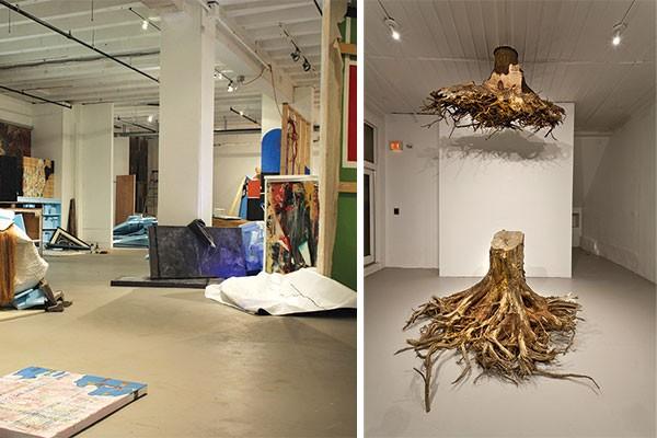 "Adam Welch's installation Terminal Moraine and Janine Antoni's ""Graft"" (detail: first floor view)"