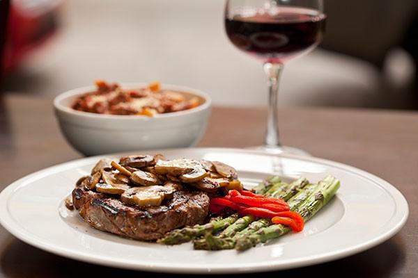 Aged Delmonico steak and asparagus