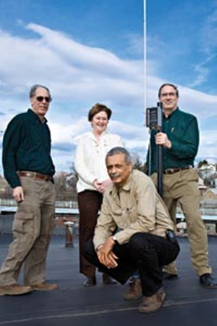 Airwave restrictions are making it difficult for community groups to start low-power FM stations. But as the restrictions are being debated, Braddock community members Michael Tobias, Vicki Vargo, Jim Kidd and Ron Gaydos (pictured, from left) are launching a low-power AM station.