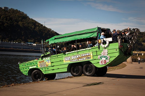 All aboard, The Just Ducky tour heads into the river