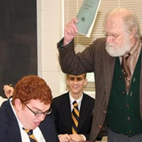 All class: Corey O'Conner (foreground), Bill Bennett (at right) and Troy Bruchwalski and Danny Bradley in Little Lake's <i>The History Boys</i>.