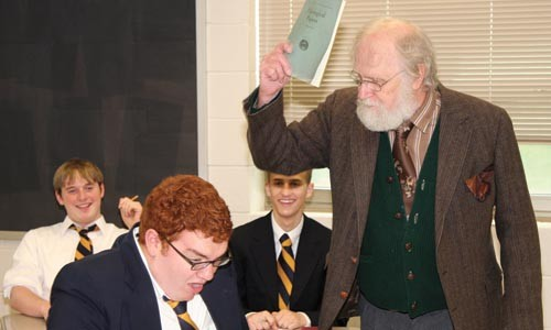 All class: Corey O'Conner (foreground), Bill Bennett (at right) and Troy Bruchwalski and Danny Bradley in Little Lake's The History Boys. - PHOTO COURTESY OF JAMES ORR.