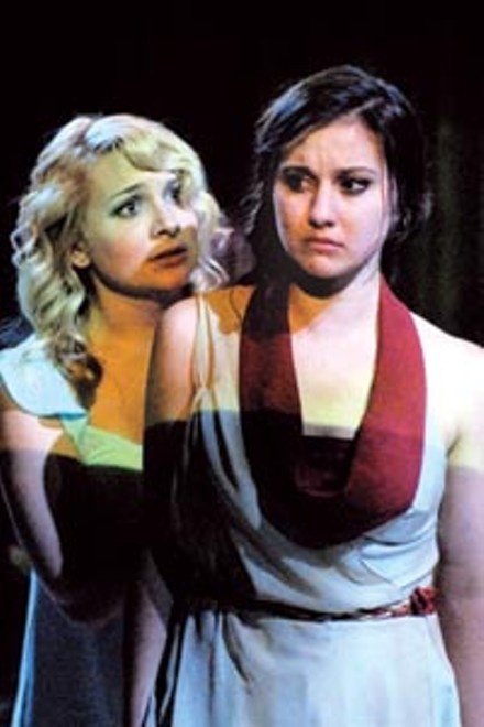 Alyssa Zagorac (left) and Connie Castanzo in Point Park Conservatory's Antigone.