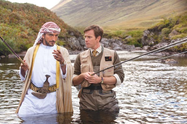 Amr Waked and Ewan McGregor wade into a kooky fishing scheme.