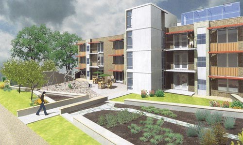 An artist's rendering of what East Liberty's new cohousing units could look like. - PHOTO COURTESY OF LAB|8 DESIGNS