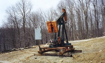 An oil derrick in the Salmon Creek watershed of the - Allegheny National Forest. - PHOTO CREDIT: COURTESY ALLEGHENY DEFENSE PROJECT