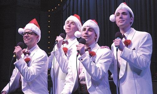 And a happy New Year: Joe Domencic, Adam Halpin, Marcus Stevens and J.D. Daw in Pittsburgh CLOs Plaid Tidings at the CLO Cabaret. Photo courtesy of Matt Polk
