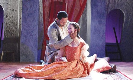 """""""Beware, my lord, of jealousy"""": Javon Johnson and Allison McLemore in PICT's Othello. - COURTESY OF GIANNI DOWNS"""