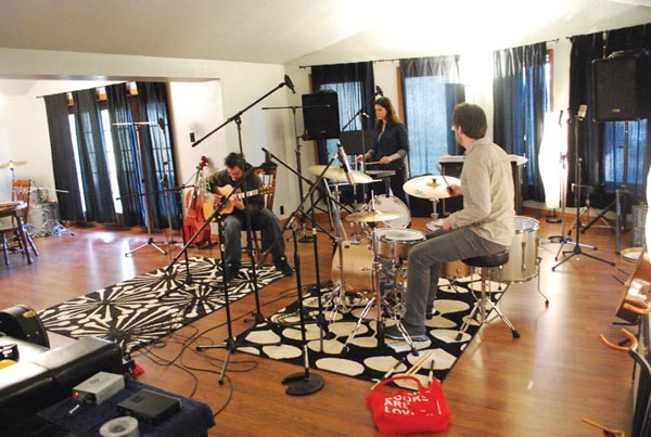 Arlo Aldo records in the live room at J Bird Studios - PHOTO BY NICK KEPPLER