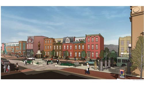 Artist rendering of proposed development at Doughboy Square - COURTESY OF OCTOBER DEVELOPMENT