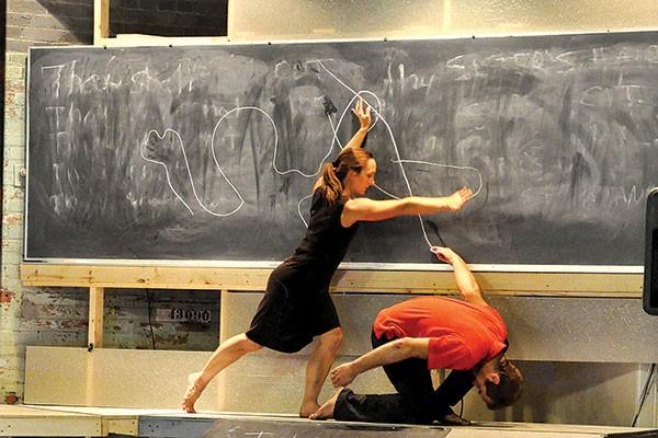 Ashley Williams and Simon Thomas-Train in Attack Theatre's The Chalk Line
