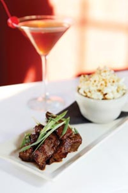 Asian steak bites, served with truffle-oil popcorn - HEATHER MULL