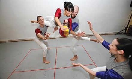 Attack Theatre dancers (from left) Peter Kope, Liz Chang, Jeff Davis and Michelle de la Reza get real square at their monthly Game Night. - HEATHER MULL