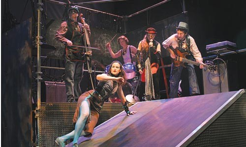 Attack Theatre's Michele de la Reza (foreground) with Dave Eggar, Matt Zebroski, Dina Fanai and Tom Pirozzi, from left.