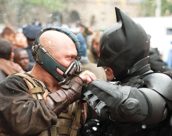 B-boy brawl: Bane (Ton Hardy) vs. Batman (Christian Bale)