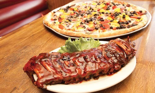 Baby-back ribs with Pittsburgh-style pizza