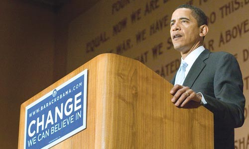Barack Obama at Soldiers and Sailors Memorial Hall, March 28 - LARRY RIPPEL
