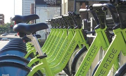 Bikes locked at a Nice Ride Minnesota station - COURTESY OF NICE RIDE MINNESOTA