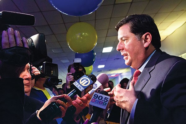 Bill Peduto talks to reporters on election night in November 2013