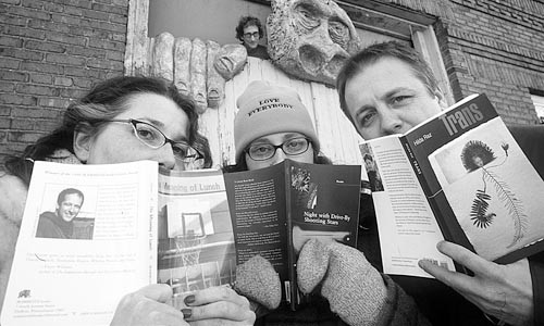 Booked: the Gist Street Reading Series gang (as photographed in 2002) turns a new page.