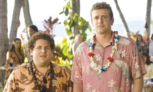 Boys look pretty in flowers, too: Jonah Hill and Jason Segel