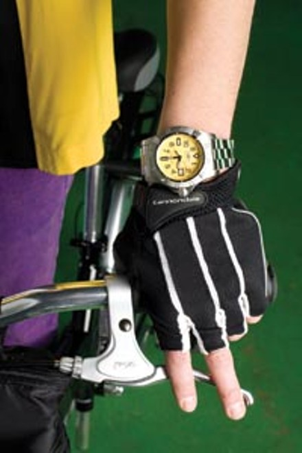 """Breitling Avenger Seawolf diver's watch, available at Orr's Jewelers. """"Classic"""" gloves by Cannondale, available at Pro Bikes. - HEATHER MULL"""