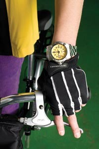 "Breitling Avenger Seawolf diver's watch, available at Orr's Jewelers. ""Classic"" gloves by Cannondale, available at Pro Bikes. - HEATHER MULL"