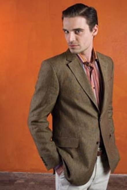 """Brian wears: caramel un-constructed, two-button linen jacket by CG, """"woven stripe"""" print sport shirt by Etro, and sisal stretch cotton/linen flat-front trousers by Hiltl; all available at Larrimor's. - HEATHER MULL"""