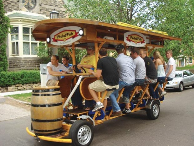 Beer Bikes In Pittsburgh the PedalPub to Pittsburgh