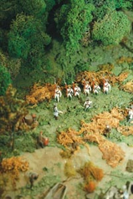 British soldiers await orders in a museum diorama. - HEATHER MULL