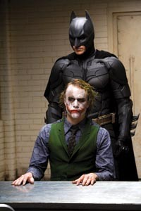 Brothers behind their masks?: Christian Bale, as Batman, and Heath Ledger, as The Joker