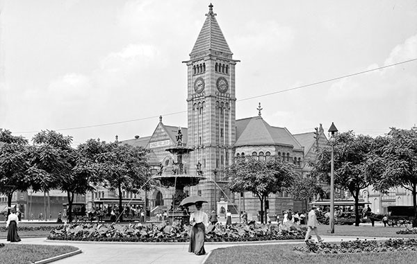 Carnegie Library and Music Hall and Ober Park Fountain, circa 1905