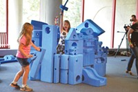 Carnegie Science Center's BLUE! exhibit offers visitors blue foam blocks of all shapes and sizes