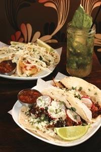 Carnitas tacos, fish tacos and an Angelita cocktail