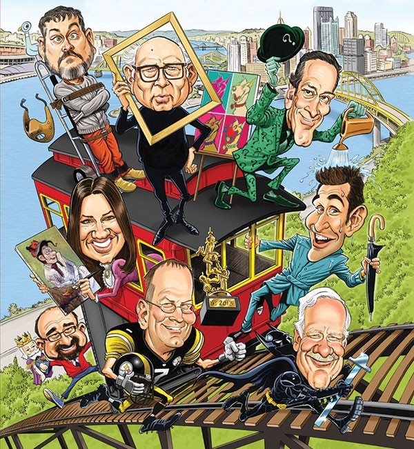 Cartoonists do Pittsburgh (clockwise from upper left): Mo Willems, Brad Anderson, Drew Freidman, Jason Chatfield, Lee Salem, Rob Rogers, Joe Wos and Terri Libenson. Illustration by Tom Richmond (from cover of National Cartoonists Society Conference program).