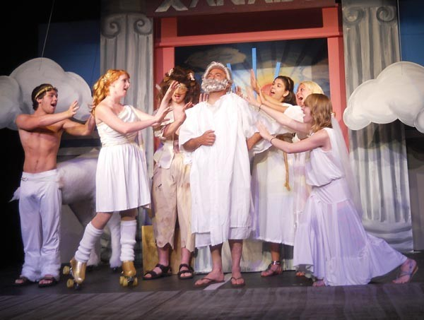 Cast members from Theatre Factory's Xanadu — Parker Servello, Hannah Jo Weisberg, Henry Nightingale, Americus Rocco, Amanda Rees, Victoria Brady and Emily Rhoades — on Mt. Olympus