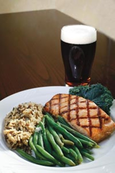 Cedar-plank salmon with wild rice and green beans. - HEATHER MULL