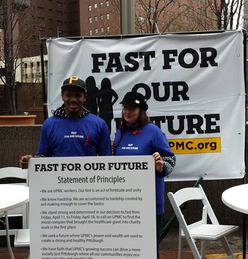 Chaney Lewis and Mary Hughes will fast for the next seven days to protest UPMC.