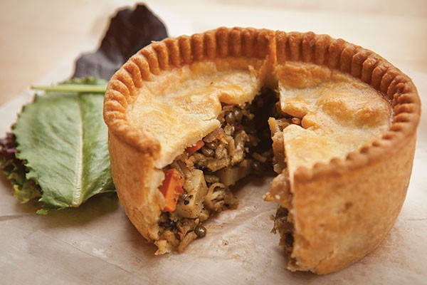 Chicken-curry pie: vindaloo-braised chicken, with lentils, eggplant, potato and carrot