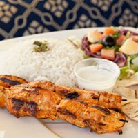 Dijlah Chicken shish kebab with white rice Photo by Heather Mull