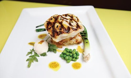 Chilean sea bass on potato-leek gratin with spring peas and cauliflower puree - HEATHER MULL