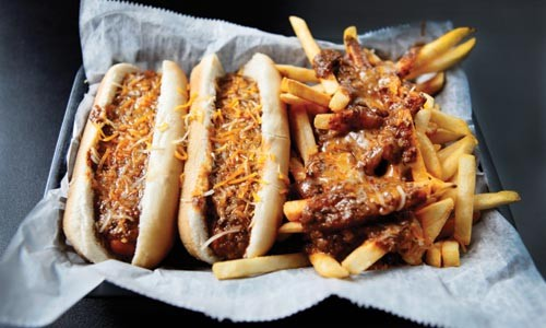 Chili dog and chili fries - HEATHER MULL