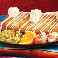 Chimichanga with beef, beans and cheese